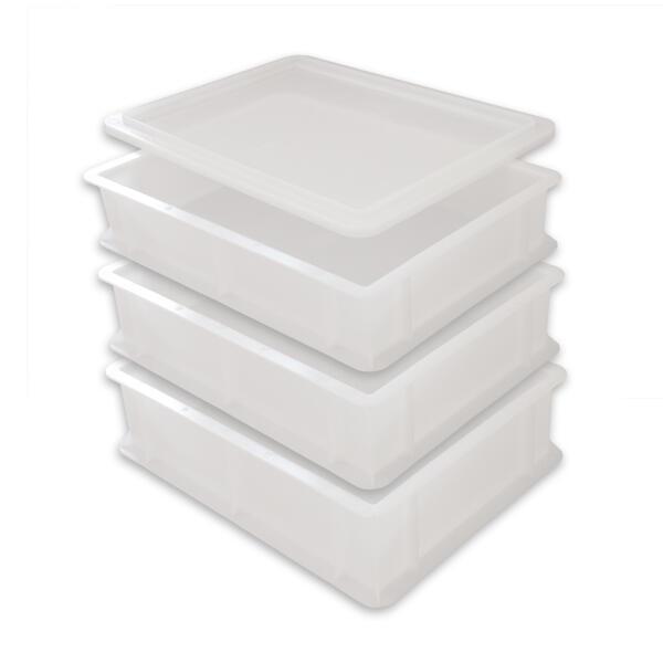 3 Pizzaballenboxen + 1 Deckel